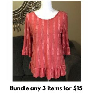 Coral Striped Blouse